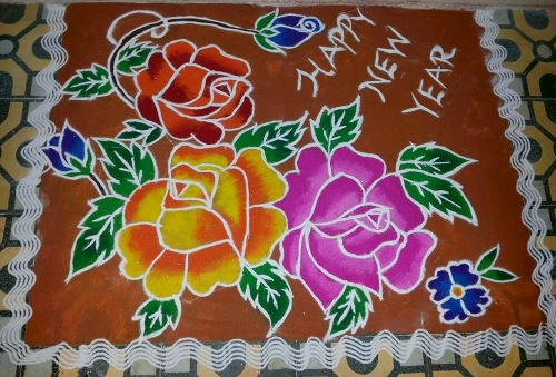 The floral rangoli design for new year