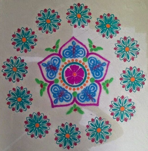 The floral rangoli for new year #2