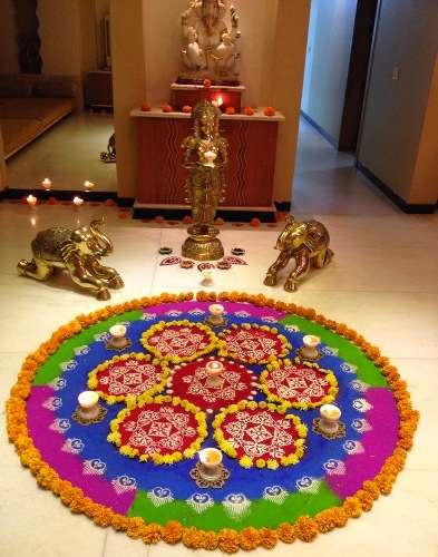 The seven circle rangoli for new year