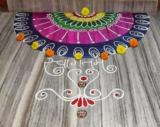Traditional new year rangoli design