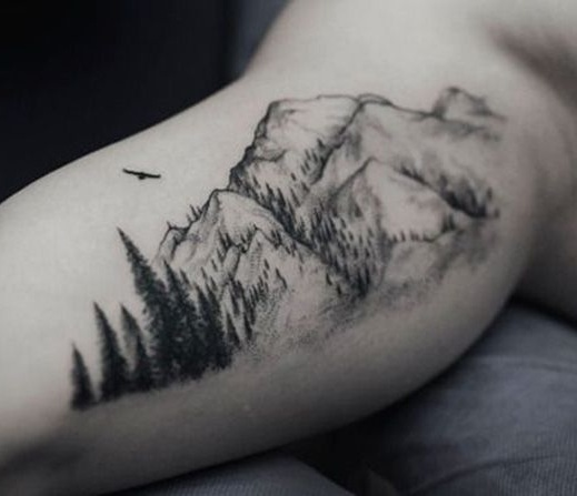 Trees With Beautiful Mountains Tattoo