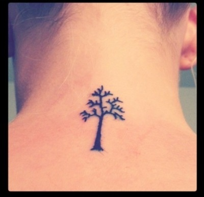 Simple Small Tree Tattoos On Neck