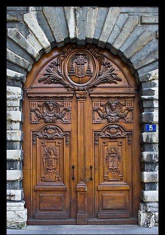 Historic wooden door. Lyon, France