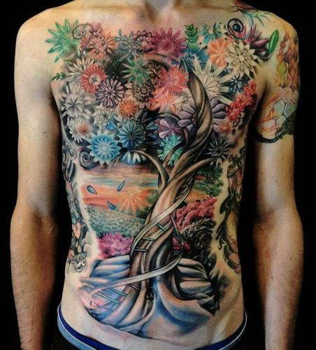 Tree Tattoo With Flowers