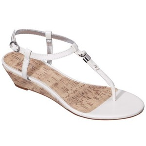 Women s Merona Etha cork low wedge sandal is in white. These sandals are  mostly preferable in summer. Sandal has three straps and small metallic  accents. d8d8d3654d5f