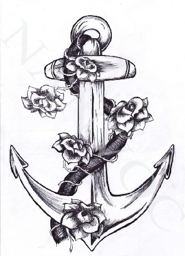 anchor-tattoo-designs-flowers-and-ropes