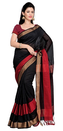 Black With Golden Red Silk Cotton Saree