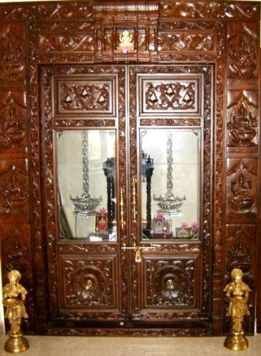 Fusion design Pooja room door designs