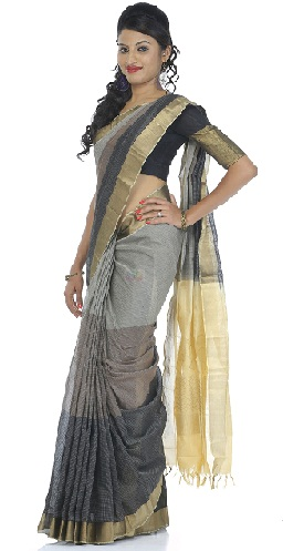 Grey and Golden Blouse Silk Cotton Saree