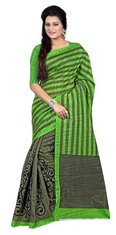 Grey and Green Blouse Silk Cotton Sarees