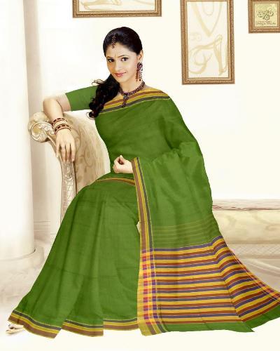 Mangalagiri cotton sarees woman in green