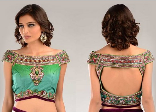Pattu saree blouse designs collar one bearing blouse
