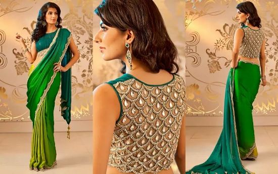 Pattu saree blouse designs fish scale jewels