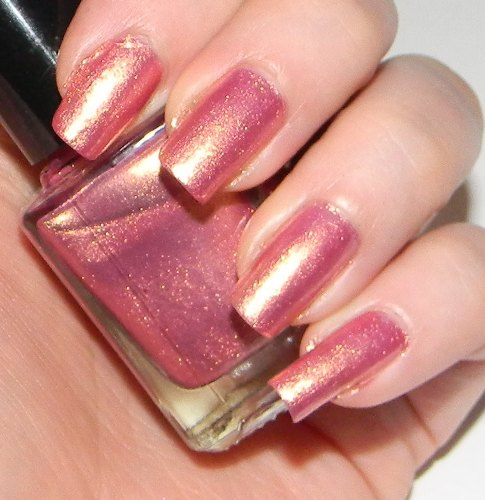 Pink Nail polishes golden shimmer on pink