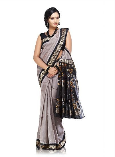 Pochampally cotton sarees Grey and black