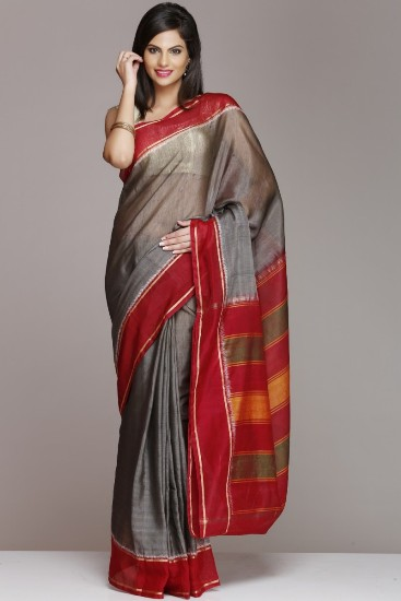 Pochampally cotton sarees Satin grey