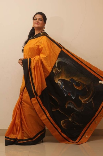 Saree painting designs Lord Shiva print