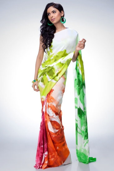 Saree painting designs color splashes