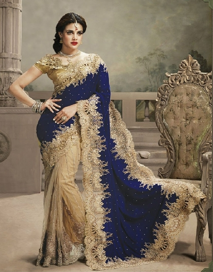 Saree painting designs embellished look