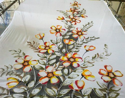 Saree painting designs flower attack