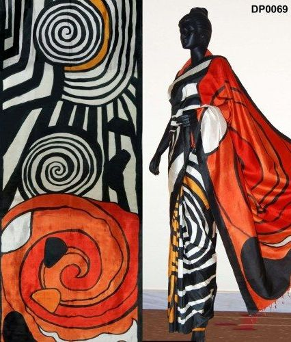 Saree painting designs spiral views