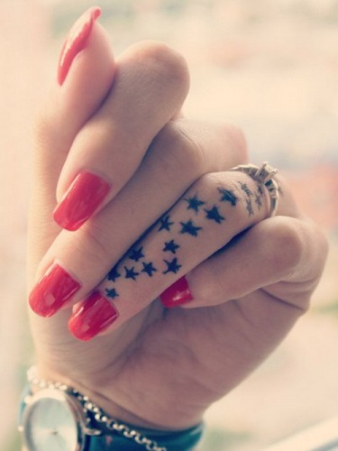 Star struck finger tattoos for girls