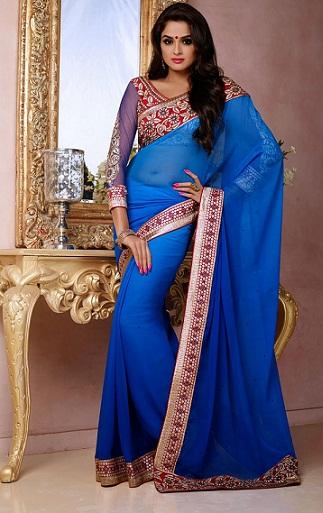 blue Chiffon saree for weddings