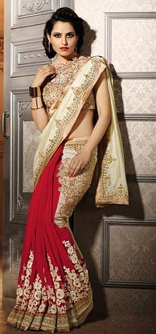 cream wedding designer saree