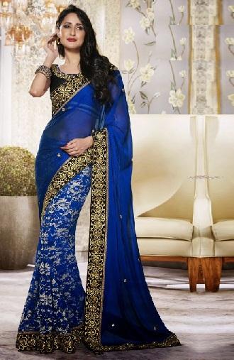 elegant heavy designer blue saree