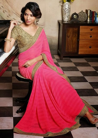 golden and pink wedding saree