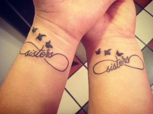 sister love infinity tattoo design