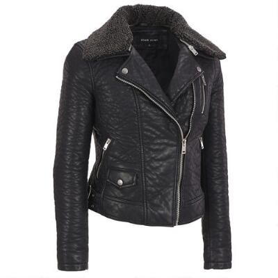 Black Rivet Faux-Leather Bubble Cycle Jacket