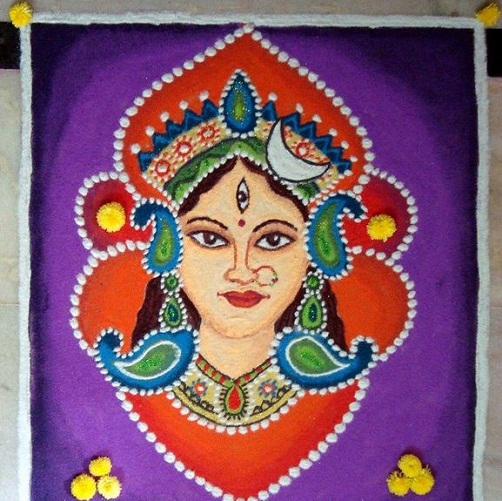Durga Puja Rangoli - Festival Rangoli Designs