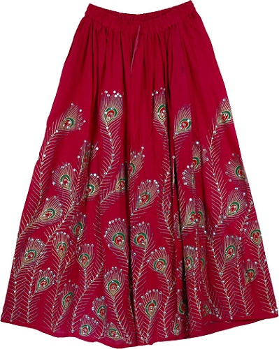 Deep Pink Sequined Long Boho Skirt longskirt - thelittlebazaar.c