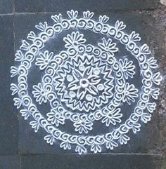 Geometric Rangoli Designs - Circular Floral Gujarati Rangoli