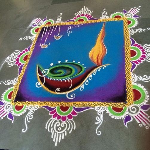 Geometric Rangoli Designs - Diwali Square Rangoli