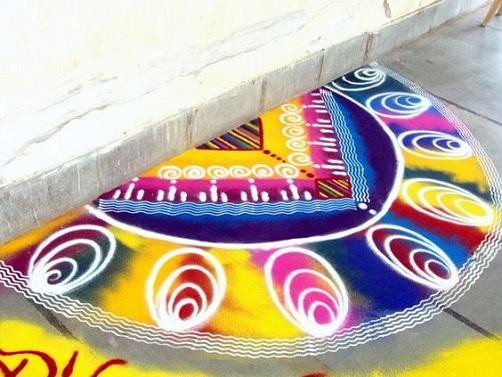 Geometric Rangoli Designs - Triangle Diwali Rangoli