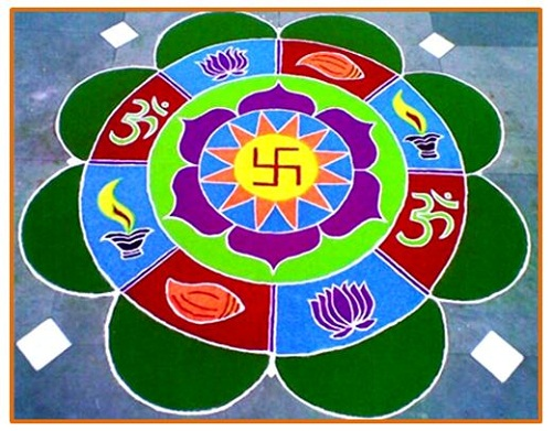 Hindu Handmade Round Rangoli Design - Festival Rangoli Designs
