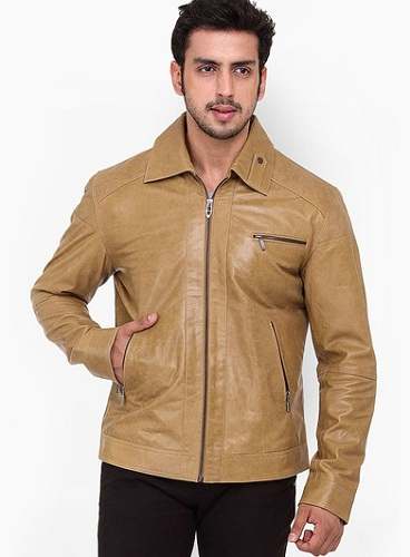 Kosher Solid Camel Leather Jacket