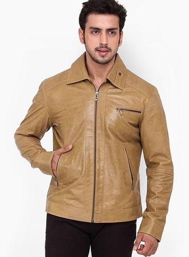Kosher Solid Camel Leather Jacket