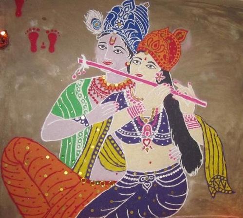 Krishna Rangoli - Festival Rangoli Designs