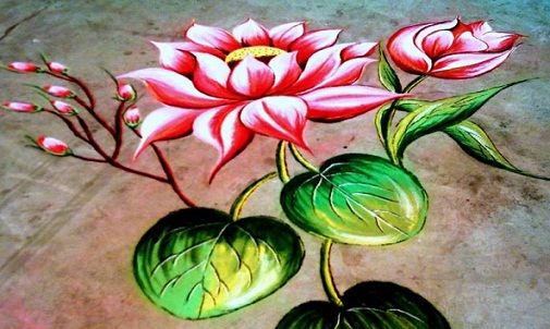 Latest Rangoli Designs-3D Rangoli designs