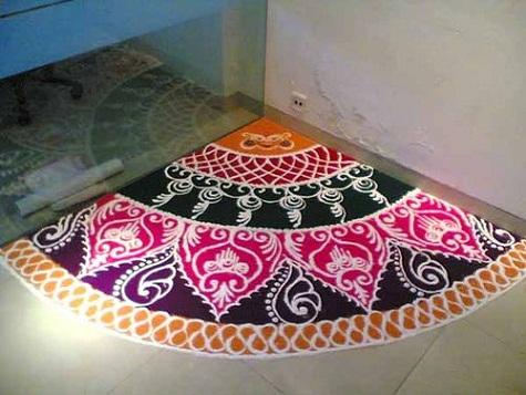 Latest Rangoli Designs-Corner rangoli designs