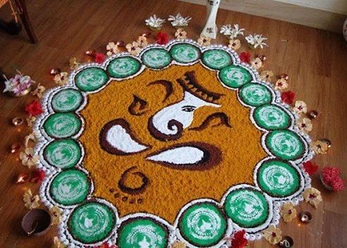 Ganesh Rangoli Art