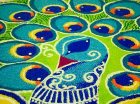 Latest Rangoli Designs-Peacock Rangoli Design