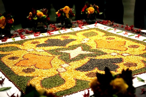 Latest Rangoli Designs-Rangoli with rice, pulses and other grains