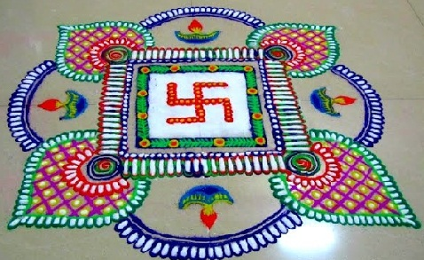 Latest Rangoli Designs-Swastik Rangoli Design