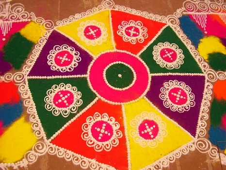 latest rangoli designs with colours