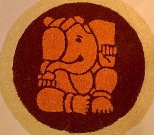 Lord Ganesha Round Rangoli Design - Festival Rangoli Designs