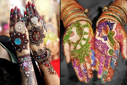 Multi colored Mehendi